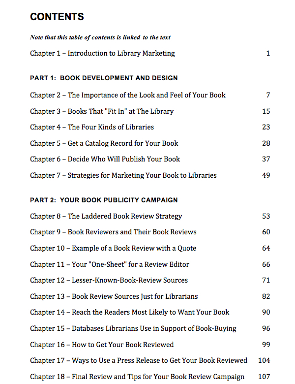 Market Your Book to Libraries Table of Contents, Nancy Humphreys
